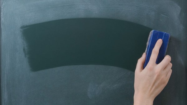 Chalkboard erased with sponge